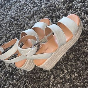 American Eagle Double Strap Wedge in Taupe